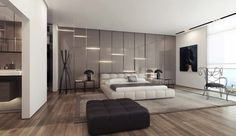 Wall Panel Application Become An Unique Texture: Amazing Grey Glossy Headboard With Light And Wood Flooring Also Lavish Bed With Bench And Carpet
