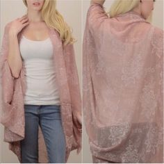•HP• Dusty Rose Oversized Kimono Cardigan Blush •Host Pick•Back to Basics Party• Dusty rose or blush pink oversize kimono cardigan with a light floral pattern. 100% polyester. One size. Tops