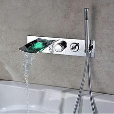 finition chromée couleur changeante mural robinet de baignoire avec douche à main