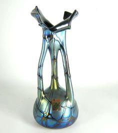 Joska Glas Vase Studio Design Jugendstil-Stil irisierend Label ca. 28cm RAR