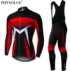 Phtxolue Men Winter Thermal Cycling Clothing 2018 Red Blue Green Long  Sleeve Cycling Jersey Set Mtb ffbf14778