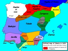 The Caliphate broke up into many taifa states in 1031. (The northern areas shown here in white, red, yellow and dark blue were Christian.)