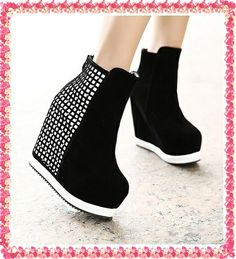 2012 Fashion Gorgeous Party Wear Women Soft Suede black  Ankle Boot Platform High Heels Wedge Booties Shoes Free Shipping Z216