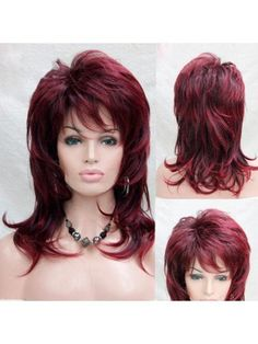 Long Inclined Bang Fluffy Layered Slightly Curly Synthetic Wig Long Shag Hairstyles, Haircuts For Medium Hair, Shaggy Haircuts, Hairstyles With Bangs, Medium Hair Styles, Curly Hair Styles, Modern Shag Haircut, Long Layered Hair, Light Brown Hair