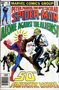Spectacular Spider-Man 50 Marvel 1981 NM Mysterio Aliens Frank MillerCondition Near Mint Shipping Shipped in a box, sandwiched between rigid cardboard for prot Marvel Comic Books, Marvel Dc Comics, A Comics, Comic Books Art, Comic Art, Book Art, Book Cover Page, Spectacular Spider Man, Strange Tales