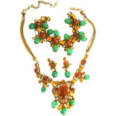 Vintage Parures @ Ruby Lane - Fabulous 1940s Carnelian Cabochon and Rhinestone Necklace, Bracelet & Earrings