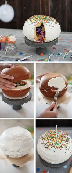 Pinata Cake Tutorial - would be cute to decorate as a globe