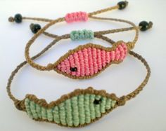 Macrame bracelets Beach jewelry Adjustable Boho Colorful Fiber art Macrame fish For summer