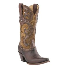 Lucchese Womens' Espresso Camel Cheetah Snip Toe Western Boots
