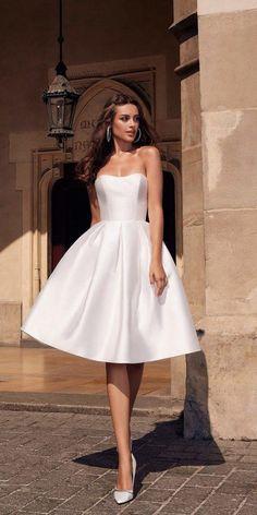 knee length wedding dresses simple strapless neckline for beach ariamo Civil Wedding Dresses, Cheap Wedding Dress, A Line Bridal Gowns, Bridal Dresses, Event Dresses, Ball Dresses, Pretty Dresses, Homecoming Dresses, Strapless Dress Formal