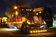 Custom International Wrecker with Chicken Lights & Chrome at the Truckfest trucks
