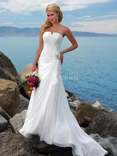 summer beach chiffon wedding dress with notched neckline and slim line gown