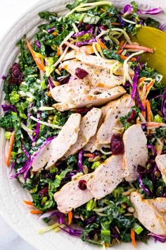 Broccoli slaw recipe mixed with kale, cabbage, carrots and chicken for a healthy salad. Fresh crunchy vegetables are tossed with a sweet & spicy dressing, and the lean protein makes this salad satisfying as a complete meal. Cabbage And Broccoli Recipe, Broccoli Slaw Recipes, Kale Salad Recipes, Fresh Broccoli, Chicken Recipes, Entree Recipes, Easy Dinner Recipes, Lean Meals, Main Dish Salads