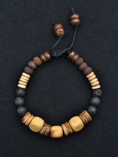 Men's Natural bracelet  Juniper Wood  Lava beads  by TaikaEarth, SOLD...