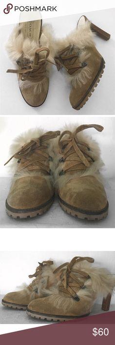 """COACH KRISTY FUR SUEDE HEELS SHOES MULES SZ 8.5 COACH KRISTY FUR SUEDE HEELS SHOES MULES SZ 8.5 - 4"""" HEEL Coach Shoes Mules & Clogs"""