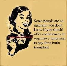 Some people are so ignorant, you don't know if you should offer condolences or organize a fundraiser to pay for a brain transplant Ignorant People, Stupid People, Some People, Funny People, Quotes To Live By, Me Quotes, Funny Quotes, Stupid Quotes, Famous Quotes
