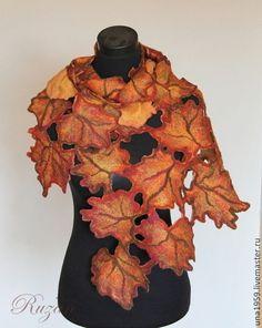 Валяный палантин Осень Золотая Двусторонний - палантин валяный,валяный палантин