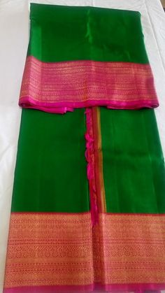 South Silk Sarees, Kanjivaram Sarees, Kanchipuram Saree, Kids Blouse Designs, Saree Blouse Designs, Traditional Sarees, Traditional Outfits, Indian Wedding Outfits