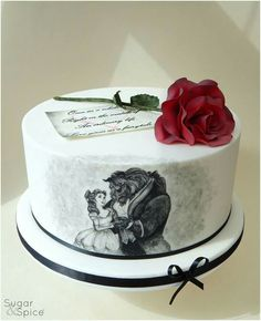 Beauty & the Beast handpainted cake