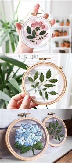 Embroidery with transparent gauze #embroidery #dearlives