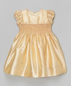 Loving this Gold Smocked Cap-Sleeve Dress - Infant, Toddler & Girls on #zulily! #zulilyfinds