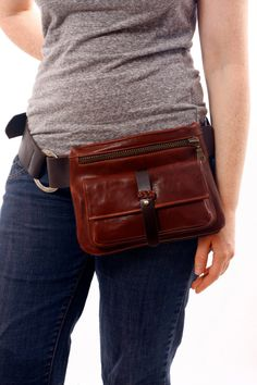 Items similar to Adjustable Brown Leather Hip Bag, bum bag, fanny pack, travel pouch, belt pocket on Etsy Leather Fanny Pack, Leather Belt Bag, Thick Leather, Brown Leather, Diy Vetement, Bum Bag, Leather Gifts, Pouch Bag, Messenger Bag