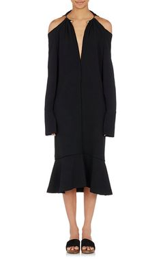 Hinged-Choker Cold-Shoulder Dress
