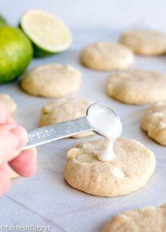 Sugar Cookie Glaze, Sugar Cookie Recipe Easy, Chewy Sugar Cookies, Homemade Cookies, Cookie Recipes, Key Lime Cookies, Lemon Cookies, Recipe Using Lemons, Lime Recipes