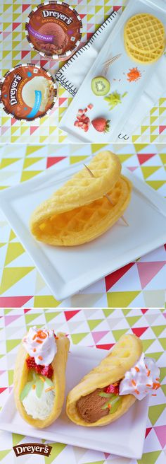Dreyer's Ice Cream Waffle Tacos: Turn an ordinary weeknight into a fun family fiesta with this simple frozen dessert! Gently fold a frozen waffle in half and secure with a toothpick. Then bake, cool and have your family add a scoop of their favorite ice cream, diced strawberry and kiwi, whipped cream and sprinkles for a unique treat that's as fun to make as it is to eat!
