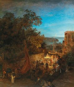 "Oswald Achenbach (1827–1905), ""Ischia – Feast of St Anne, Casamicciola"",  1876"