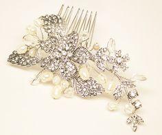 "Romantic Rhinestone & Pearl Flower Bridal Hair Comb ~ ""Kyla"""