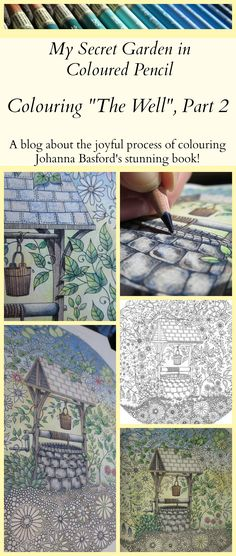 """Here is an update of """"The Well"""",  one of my favourite colouring pages in Johanna Basford's stunning book """"Secret Garden""""!"""