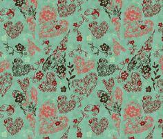 Love, Blue fabric by natalie on Spoonflower - custom fabric