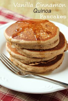 Vanilla Cinnamon Quinoa Pancakes from Delicious as it Looks