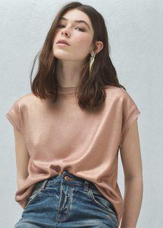 Metallic sweater - Cardigans and sweaters for Women   MANGO USA