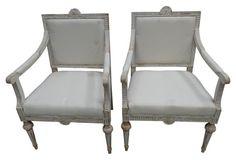Swedish Armchairs w/ Original Paint, Pr