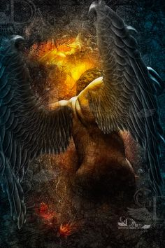 Into the fire Angels Among Us, Angels And Demons, Dark Fantasy, Fantasy Art, Daedalus And Icarus, Male Angels, Male Fallen Angel, Angel Warrior, Legends And Myths