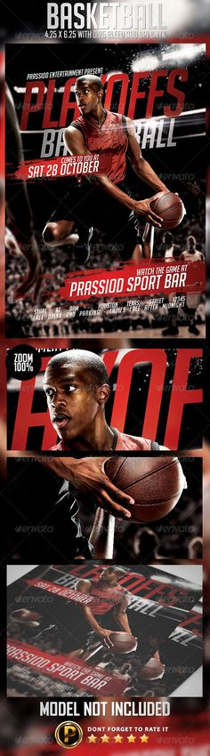 Basketball Flyer Template Description : Size 4×6 inch ( .25 inch bleed area ) Print Ready ( CMYK, 300DPI ) Easy to edit and fully customizable Include Model download link in help file Organised and Detailed Layers The files contains groups All text are editable