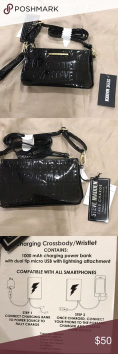 Steve Madden Charging Crossbody/ Wristlet New with tags, black patent monogrammed leather, compatible with smart phones, including i phones and usb, see pic 5 Steve Madden Bags Crossbody Bags