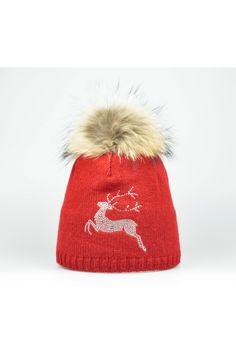 Steffner Mütze mit Echtpelz & Strass rot Trachteria