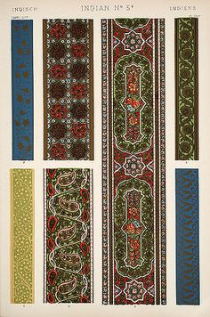 """Image Plate from Owen Jones' 1853 classic, """"The Grammar of Ornament"""" ~ by Eric Gjerde. Many beautiful plates here, lots of ideas for borders & patterns. Pattern Images, Vector Pattern, Pattern Art, Surface Pattern, Indian Patterns, Textures Patterns, Print Patterns, Stencil Patterns, Applique Patterns"""
