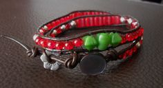 Two loop brown leather bracelet with beautiful red and green beads by SWEETUBIJU on Etsy