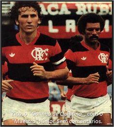 """Zico, o """"Galinho de Quintino"""", com o """"Maestro"""" Júnior. Dispensa comentários."""