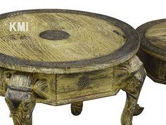 meble indyjskie kolorowe   okrągły zółty stolik słoń duży