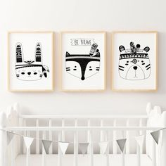 Boys Tribal Monochrome Nursery Bedroom Prints by TheKidsPrintStore