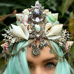 Handmade seashell crown