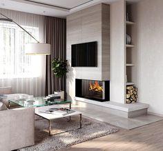 The Best 2019 Interior Design Trends - Interior Design Ideas Living Room Tv, Small Living Rooms, Living Room Modern, Home And Living, Living Room Designs, Home Fireplace, Living Room With Fireplace, Fireplace Design, Snug Room