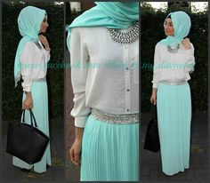 Calm aqua with white, just to add a bit of accesories add silver jewellery! I love this outfit!:)