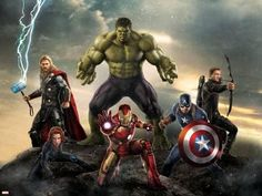 Thor, Hulk, Captain America, Hawkeye, and Iron Man from The Avengers: Age of Ultron Art Print at Art.com