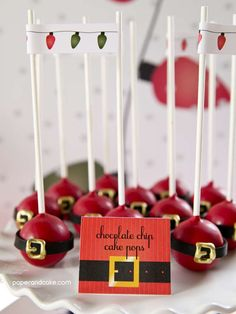 Cake pops at a plaid and peppermint Santa party! See more party ideas at CatchMyParty.com!